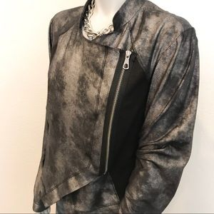 RACHEL ROY Metallic Brushed Bomber Moto Jacket